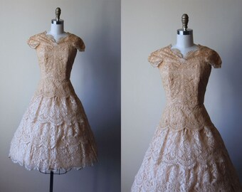 1950s Party Dress - Vintage 50s Dress - Golden Ombre Lace Full Skirt Designer Sundress S- Splendid Dress