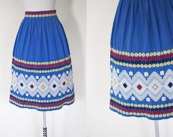 50s Skirt - Vintage 1950s Guatemalan Skirt - Colorful Blue Southwest Hand-Woven Cotton Full Skirt M - Izabal Skirt