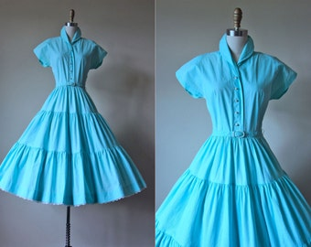 1950s Dress - Vintage 50s Dress - Jadite Aqua Pique Cotton Eyelet Circle Skirt Garden Party Sundress S - Piqued Interest Dress