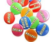 """Custom Name Tags, Birthday Party Button Pack, LEGO(r) Theme Birthday Buttons, Name Tags, Pinback Button,  Small Badge, 1.25"""" Button"""