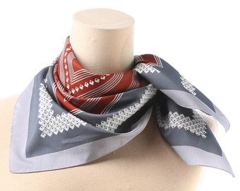 GEOMETRIC Vintage Scarf 1980s Grey Rustic White Color Block Neck Shawl Striped Polyester Neckerchief Unisex Retro Casual Womens Gift  Idea