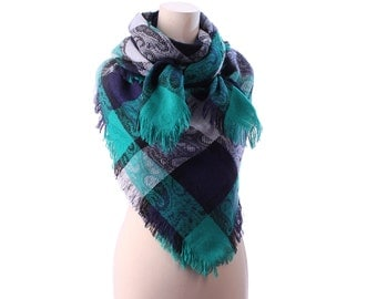 PLAID WOOL Shawl 80s COLORBLOCK Blanket Wrap Green Grey Black Oversize Large Scarf 54 inch Fringed Neckwear Winter Warm Wrap Girlfriend Gift