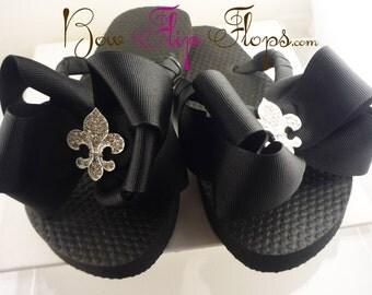 Fleur de Lis Bow Flip Flops  Rhinestone, choose your bow colors,  Bling Buckle B