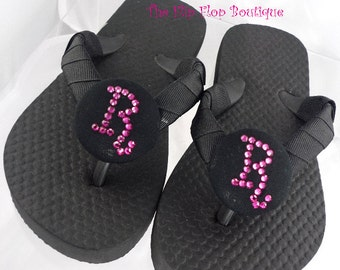 Choose your own colors for the Bridesmaid Flip Flops - Wedding/ sandals/ flat or wedges/ fuchsia black crystal rhinestones / any colors