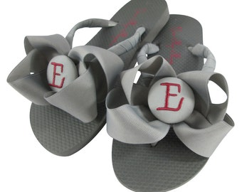 Bridesmaid Flip Flops, Cranberry Red & Gray/ many colors/ Wedding Flip Flops in custom colors and personalization
