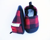 Eco-Canvas Vegan Buffalo Check Plaid / non-slip soft sole baby shoes / made to order / babies toddlers preschool