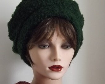 Sale Price, Ladies Green, Boucle Fabric, Cloche Beret