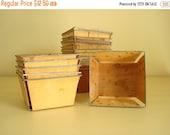 5 pint strawberry baskets, lightly stained wood fruit baskets, wood boxes rustic wedding, metal edge split wood basket, farm kitchen storage