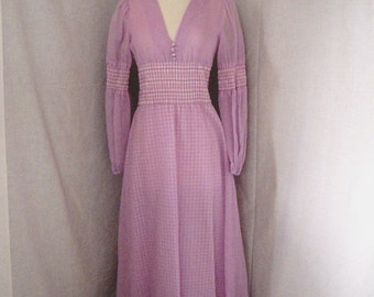 CLOSING SALE 1970s E.D. Juniors of San Francisco hippie boho maxi dress. Tag size 7. Small. Voile over gingham checks.