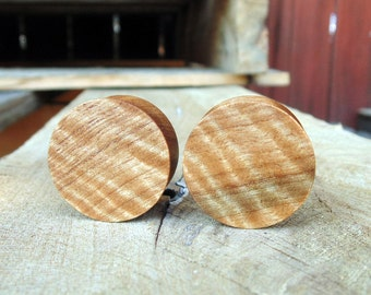 """22mm Curly Pyinma wood ear plugs in 7/8"""" gauge, hand turned, organic and made in USA"""