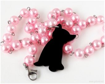 Black Cat Necklace, Beaded Pearl Chain, Pink Pearls, Cat Lovers, Pastel Goth, Street Fashion