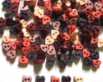 100 pcs Tiny love heart button 6 mm mix brown tone
