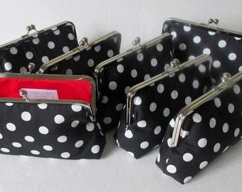 Black and White Polka Dot Wedding Clutch, Monogram clutch, Bridesmaid Clutch Purse, Bridesmaid Gift by Cutiegirlie