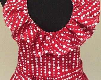 Ultra Feminine Full Apron with Ruffled Neckline and Twirly Skirt