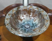 "MADE TO ORDER Arabic Floral Lace Design Boader Your Choice Colors Crystalline Glazed Porcelain Vessel Sink Up to 15"" in Diameter"