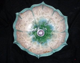 MADE TO ORDER Flower Petal Rim Lotus Inspired Sculptural Color Your Choice Crystalline Glazed Vessel Sink up to 15 inches in Diameter