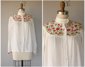 1970s Indian Cotton Blouse | 70s Blouse | 1970s Cotton Blouse | Embroidered Blouse | Floral Blouse | Cotton Gauze Blouse