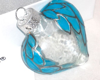 Blue Angels Wings Puffed Heart Glass Ornament Hand Painted Decorative Art