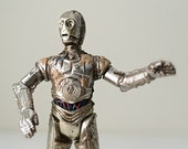 Vintage Star Wars Figure C-3PO - Droid, Robot Action Figure from the 1990s Kenner Star Wars Toy Collection - Removable, Swivel Arm Action