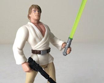 Luke Skywalker Star Wars Figure with Lightsaber and Blaster - 1990s Kenner Star Wars Toy, Jedi from Star Wars Episode IV, A New Hope