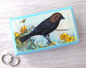 SALE Cowbird Business Card Box -  Cowbird Bird Keepsake Box in Pale Blue - Desk Accessories - Shabby Chic Decor Box