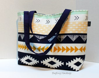 Aztec Horizon Tote Bag /  Diaper Tote /  Medium Bag