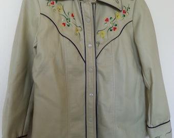 Vintage pleather vinyl jacket western rockabilly punk medium Women's