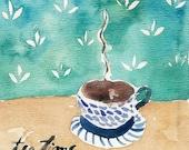 Tea Time Print/ tea cup watercolor print/ kitchen art/ tea cup art print/ Still life art/ shabby chic/ retro style/ mothers day