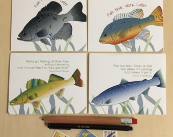 Fish Greeting Cards - Boxed Set of 4