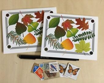 Leaf Collage Notecards - Set of 2