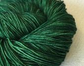 Hand Dyed Sock Yarn Treasure of the Emerald Isle Hand Painted sockyarn 463 yards hand dyed Green fingering weight Treasured Toes