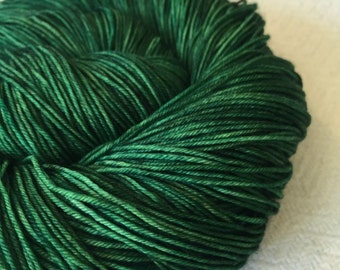 Hand Dyed Sock Weight Yarn Emerald Green Sock Yarn Treasured Toes semisolid yarn 463 yards kelly green fingering weight yarn forest green