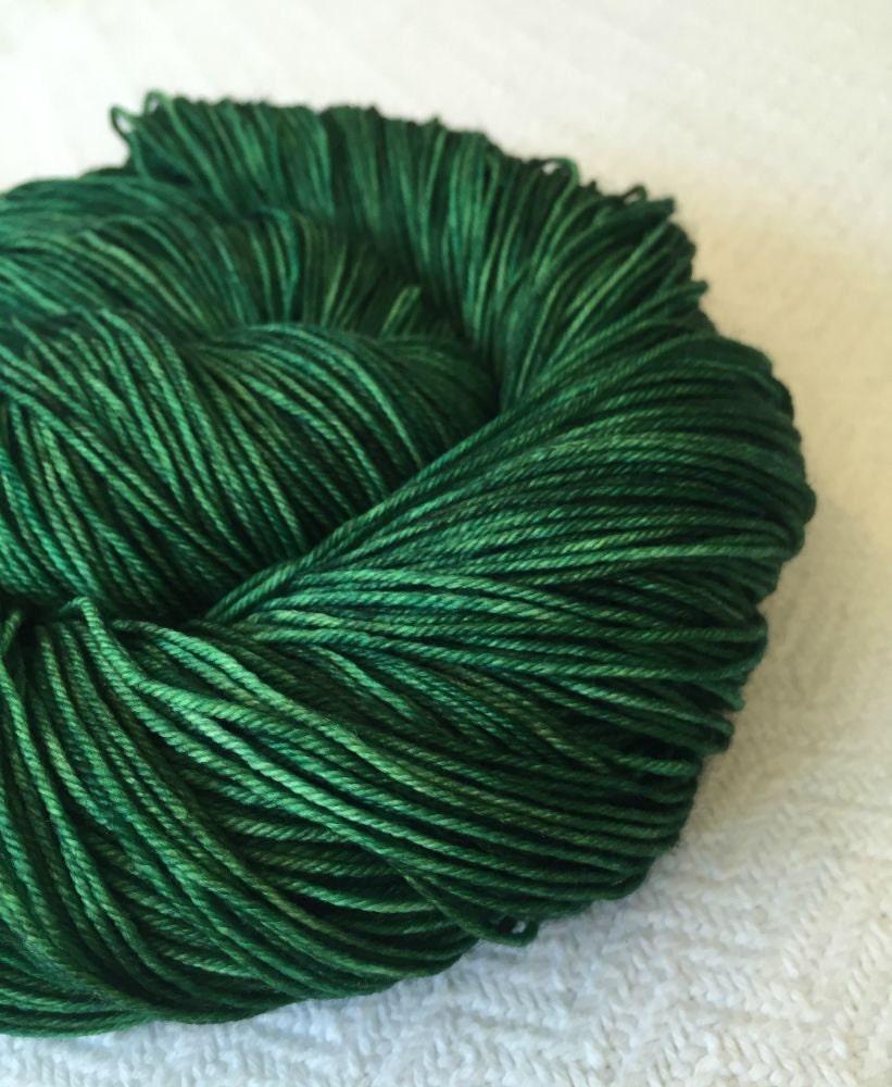 Hand Dyed Sock Weight Yarn Emerald Green Sock by treasuregoddess