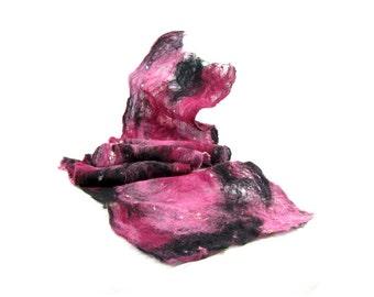 Cobweb Felted Scarf Wool Scarf Gift for Her Winter Scarf Fall Scarf Fall Fashion Womens Scarf Pink Scarf in Pink Fuchsia Black OOAK