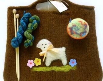 Felted wool purse tote knitting bag kit, needles, pin cushion, yarn ready to ship sheep design