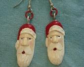 Hand carved Santa earrings