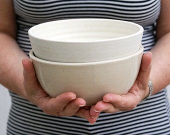 SECONDS SALE - Two large stoneware pottery salad bowls in vanilla cream and simply clay