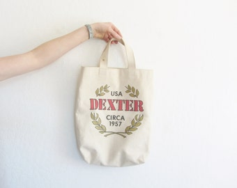 1957 DEXTER farm tote bag . canvas market purse . greek olive branch .sale s a l e