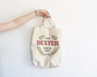 1957 DEXTER farm tote bag . canvas market purse . greek olive branch .sale