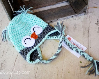 Mint Green and Heather Grey Baby Owl Crochet Hat - 0-6 months