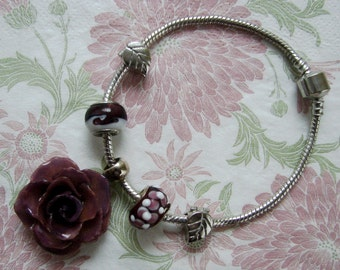 REAL Rose Flower - Purple Rose Flower Bracelet - Silver Snake Chain - European Style Charm Beads - Plus Size