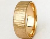 Gold Wedding Band Rustic Bark Mens Wedding Ring Unique Wedding Bands Personalized Rustic Wedding Rings Bark Textured Recycled Gold Ring