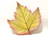 Leaf Dish, Leaf Spoon Rest, Hand-Built Leaf Pottery, Ceramic Maple Leaf