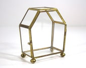 Vintage Glass Brass Display Box - Curio - Upright Coffin