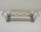 Vintage Brass Wire Glass Caddy - Drink Carrier