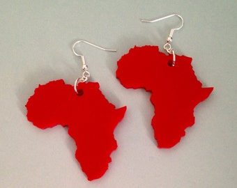 Shape of Africa Earrings, Laser Cut Acrylic, Dangle Earrings, Red Acrylic
