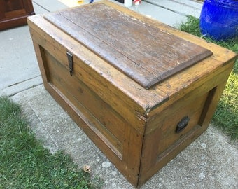 Antique Carpenters Tool Box Chest 36w17h22d Hand made Shipping is NOT FREE!