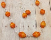 Paper Beads - Necklace and Earring Set - Orange and Clear with Silver