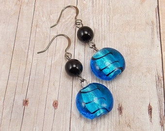 Earrings - Bright Capri Blue with Black Stripes - Silver Foil Lined - Gunmetal - Puffed Coin