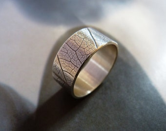 Leaf pattern silver ring, Sterling silver ring, wide band ring, metalwork jewelry